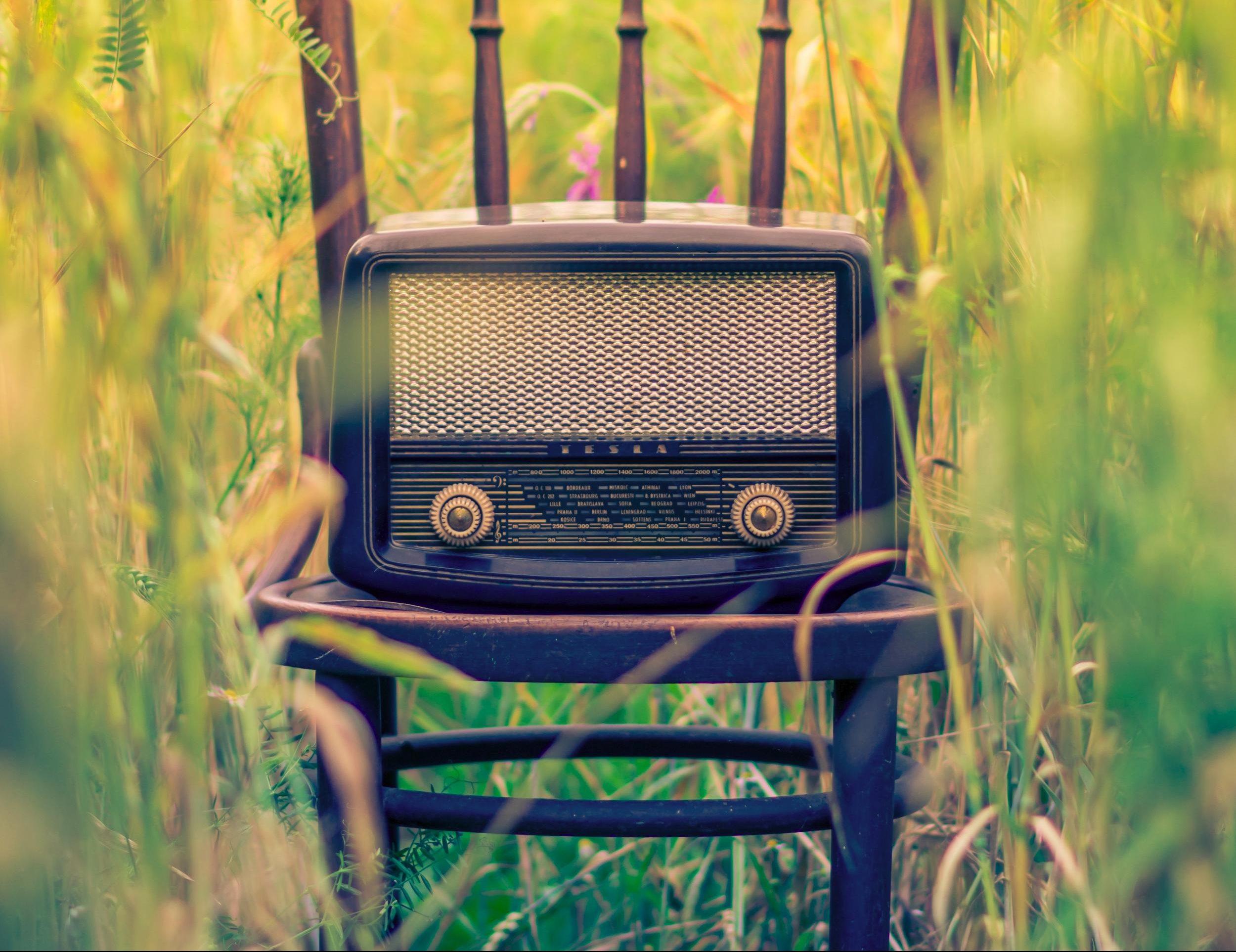 rádio velho numa cadeira velha no meio de um campo de trigo.