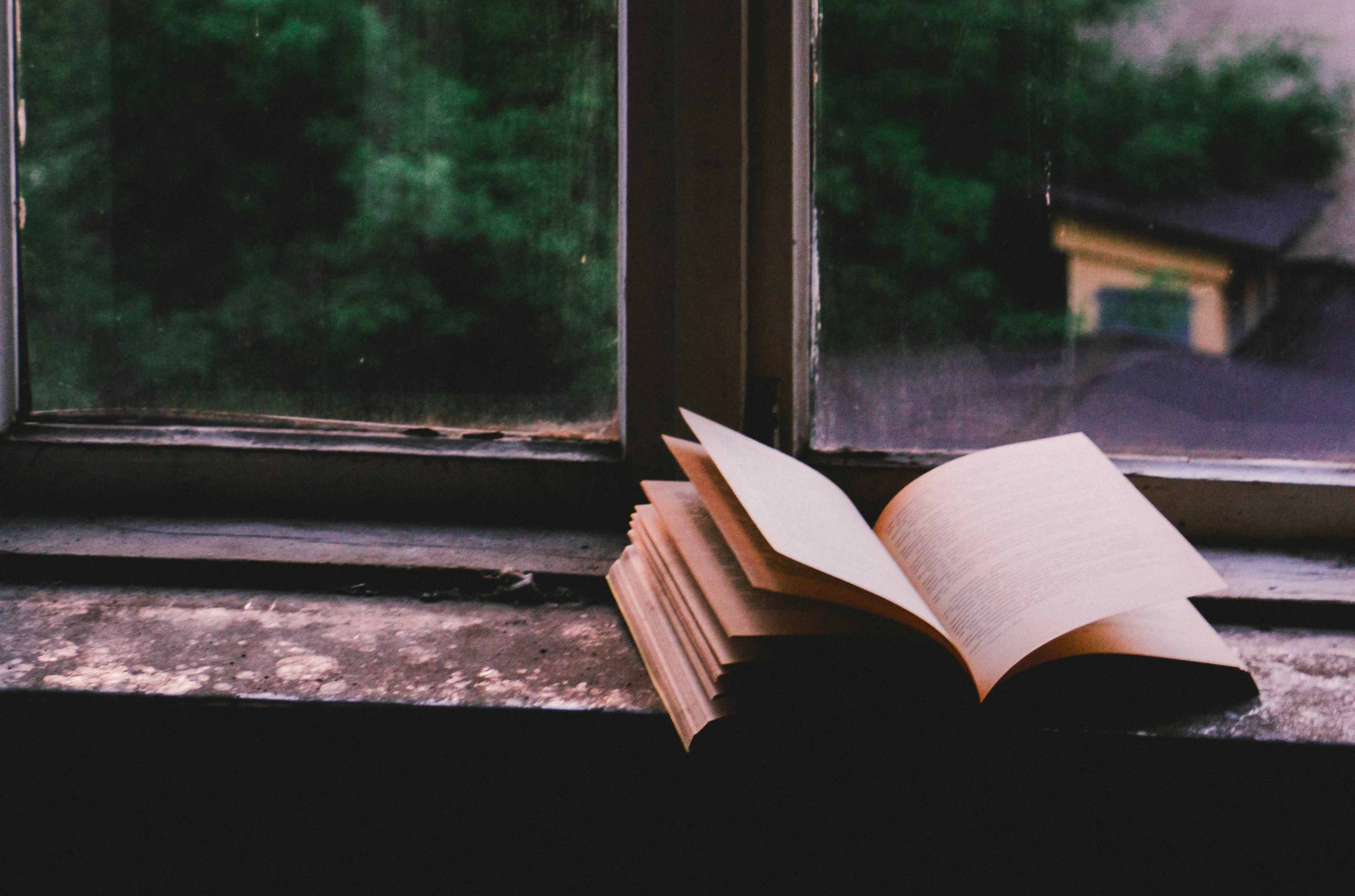 foto de livro aberto sobre o peitoril de uma janela