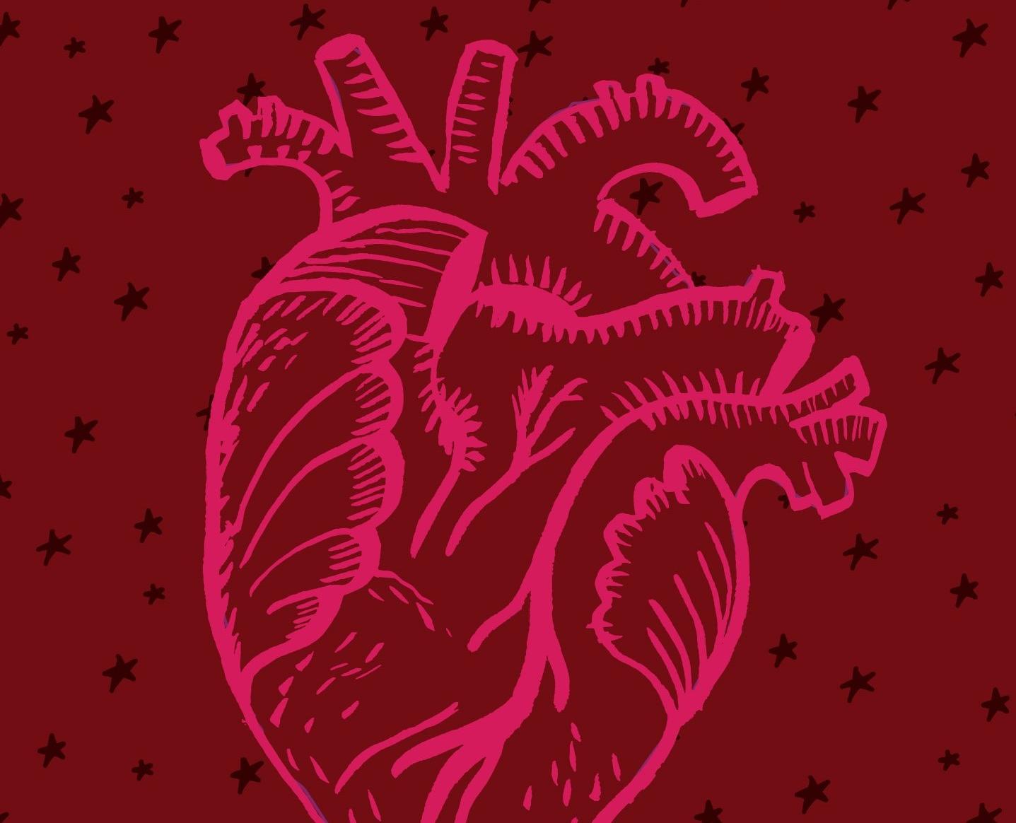 pedaço da capa do livro: um coração desenhado sobre fundo vermelho.