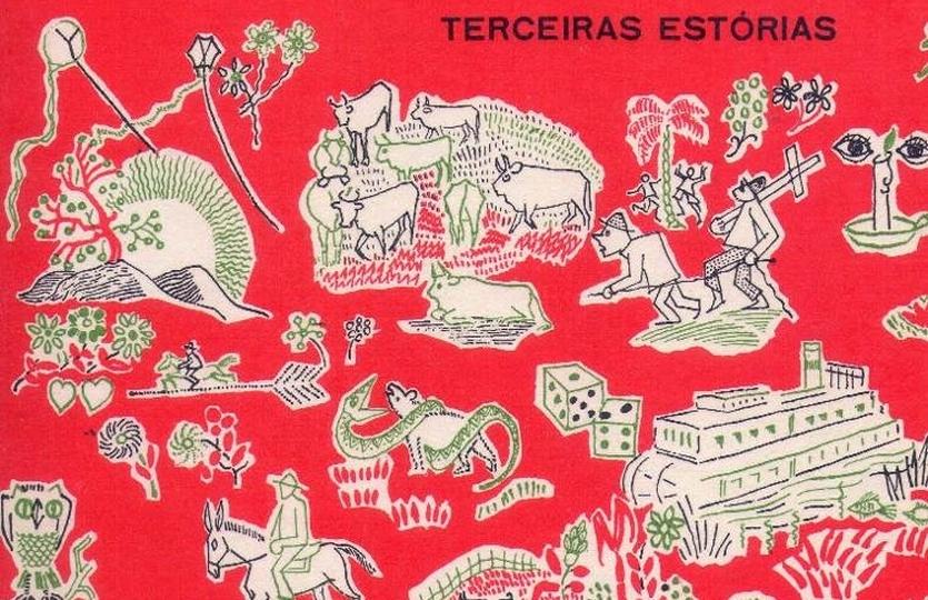 pedaço da capa da primeira edição de Tutaméia com ilustrações em fundo vermelho.