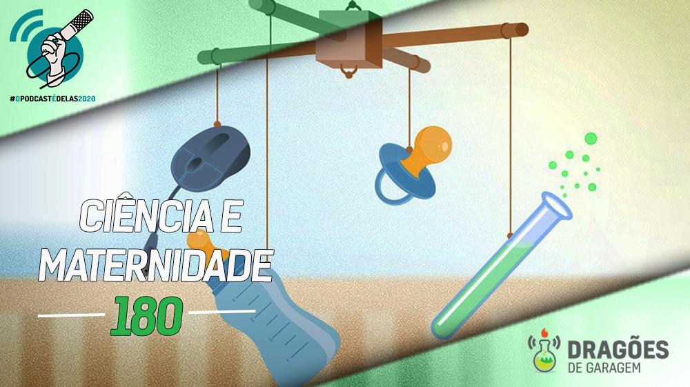 Desenho de um brinquedo penduricalhos de berço com um mouse, uma mamadeira, uma chupeta e um tubo de ensaio pendurados. No canto superior esquerdo há um carimbo da campanha O Podcast é Delas