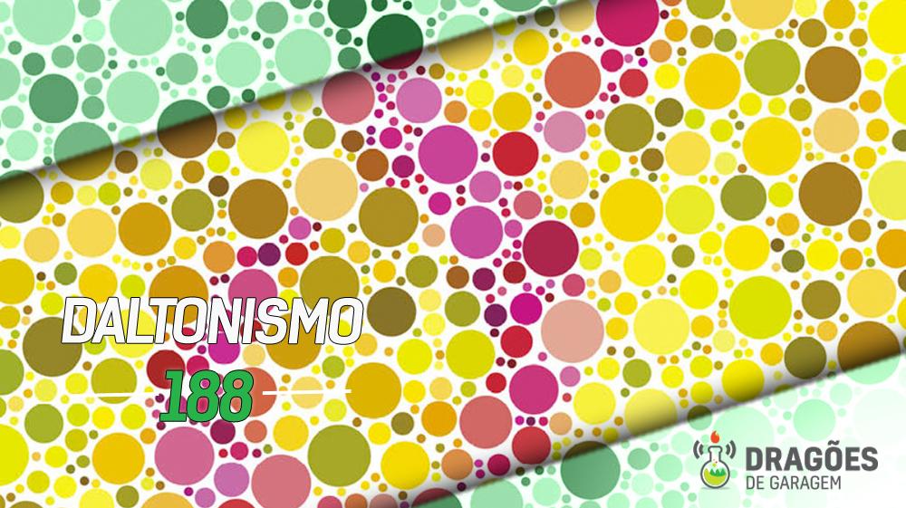 Um quadro de teste de daltonismo, que consiste em numerosas bolinhas rosas de vários tons formando o algarismo 8, em um fundo formado por bolinhas amarelas de vários tons