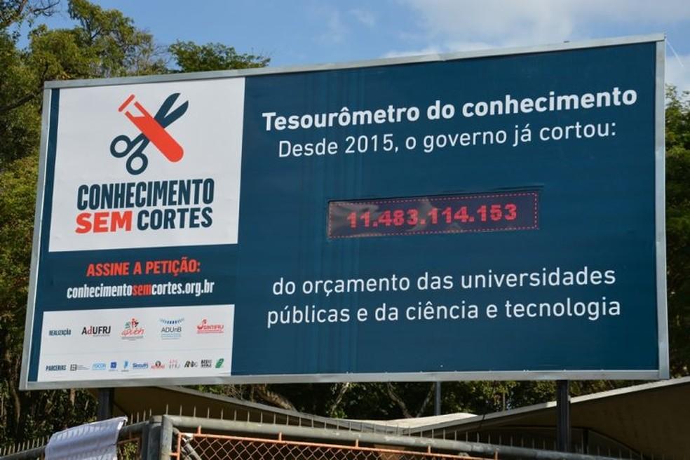 Painel de LED indicando o valor perdido pela ciência brasileira desde de 2015.
